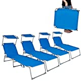 TecTake Gartenliege Sonnenliege Strandliege Freizeitliege mit Sonnendach 190cm -diverse Farben- (4 Stück Blau)