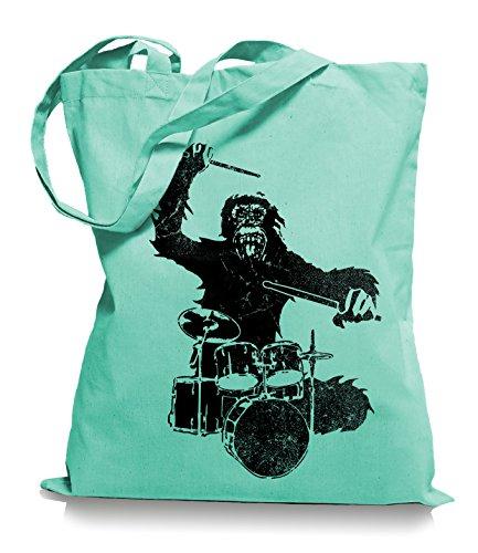 Ma2ca® Gorilla Drummer - Jutebeutel Stoffbeutel Tragetasche / Bag WM101 Mint