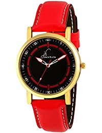 Jack Klein Red Strap Black Dial Analog Wrist Watch