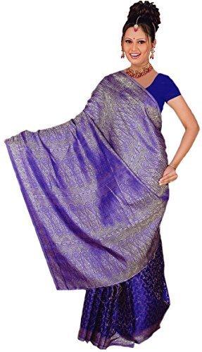 Blaue Saree (Fertig gewickelter Bollywood Sari Indien Blau Gr. L bis XL)