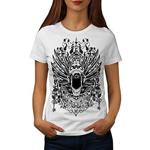 wellcoda Unheimlich Schädel Kopf Gesicht Frau T-Shirt Tempel Lässiges Design Bedrucktes T-Shirt -