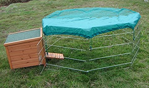 2 items: 1 x small hide house + 1 x Large VivaPet Outdoor Octagon 55-inch Run / Cage / Playpen / Enclosure for Rabbit Puppy Chicken Duck Hen Guinea Pig, with Sun Protection Net Cover.