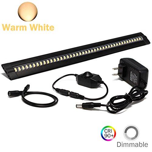 LEDLightsWorld ultra thin led unter schrank / zähler küche beleuchtung plugin, dimmbare 2 münzdicke led-licht mit 42 leds 1 licht in der linie warmweiß - Zähler Beleuchtung Küche