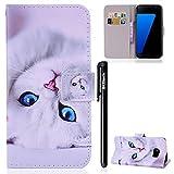 Galaxy S7 Hülle,BtDuck Handyhülle Samsung Galaxy S7 Weiß Tasche Leder Flip Case Etui Tasche Schutzhülle für Samsung S7 Brieftasche Ledertasche Stoßfest Kinder Frauen Geburtstagsgeschenk - Weiße Katze
