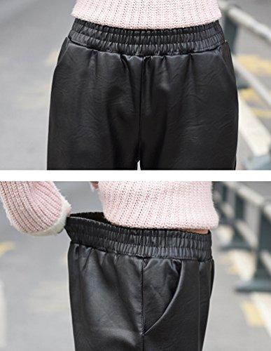 ZhiYuanAN Donna Pantaloni In Ecopelle Pu Con Tasche Autunno Inverno Ample Foderato In Pile Leggings Casual Chic Arricciato Bordo Pants Harlan Treggings Beige