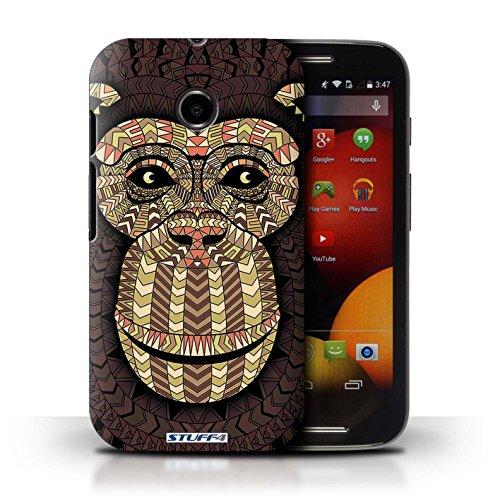 Kobalt® Imprimé Etui / Coque pour Motorola Moto E (2014) / Loup-Couleur conception / Série Motif Animaux Aztec Singe-Sépia