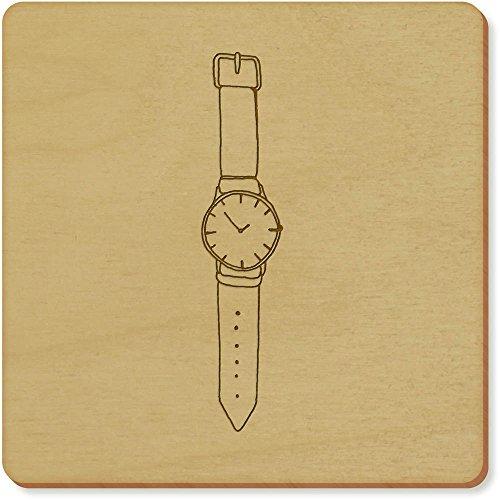 6 x 'Armbanduhr' Quadratisch Hölzerne Untersetzer (CR00109902)