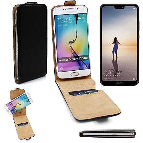 K-S-Trade Für Huawei P20 Lite Single-SIM Flipstyle Schutz Hülle 360° Smartphone Tasche, schwarz, Case Flip Cover für Huawei P20 Lite Single-SIM