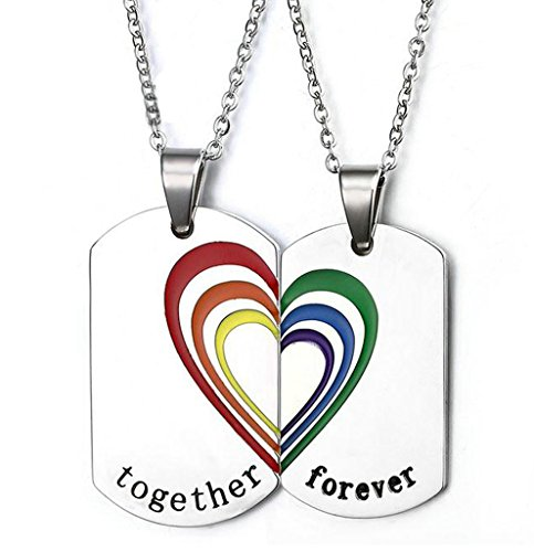 AMDXD-Schmuck-2Pcs-Paar-Kette-Gay-Pride-Herz-Anhnger-Halskette-mit-Gratis-Gravur-Edelstahl-Together-Forever