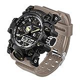 Taffstyle Herren Sportuhr Armbanduhr Silikon Sport Watch mit Licht Alarm Stoppfunktion Chronograph Digital Quarz Flieger Uhr Beige