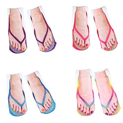Sunshay Novel Funny 3D Printing Flip Flops Socks