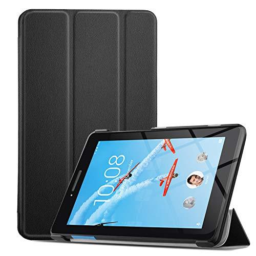 IVSO Hülle für Lenovo TAB E7, Ultra Schlank Slim zubehör Schutzhülle Hochwertiges PU Leder-mit Standfunktion Ideal Geeignet für Lenovo TAB E7 7 Zoll 2018 Tablet PC, Schwarz