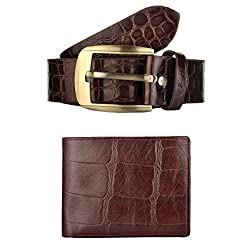 Exotique Mens Brown Casual Belt & Wallet Combo (EC0043BR-XXL)