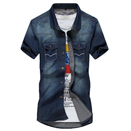 Dooxi uomo slim fit casual camicie manica corta camicia di jeans blu 3xl