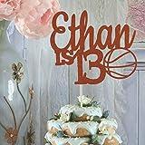 Basketballkuchen zum 13. Geburtstag, beliebiger Name, Alter Farbe, Sport, Party, Basketball, Geburtstag, Jungen, Geburtstag, Party, Dribble Bounce Glitzer Kuchen