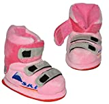 Hausschuhe - als rosa Skischuhe - SUPERWARM - Gr. 16 - 17 - 18 - circa Baby 0-6 Monate - gefütterte Plüschhausschuhe / Boots / Hausstiefel / Hausschuh Stiefel warm Skischuh / für Kinder Größe Erwachsene lustig Mädchen Damen Frauen