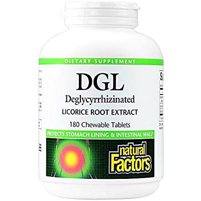 Natural Factors DGL Licorice Root Extract 400mg, 180 Chewable Tablets by Natural Factors