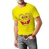 N4138 Lustige lächelnde Karikatur Gesicht, großes Geschenk, lustige T-Shirt (XL, Gelb Rot)