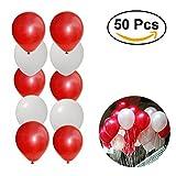 NUOLUX 50pcs 16 pouces Round Latex Ballons pour Fête Noel Anniversaire Décoration (rouge + blanc perlé)...