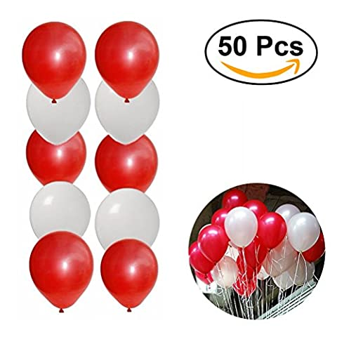 NUOLUX 50pcs 16 pouces Round Latex Ballons pour Fête Noel Anniversaire Décoration (rouge + blanc)