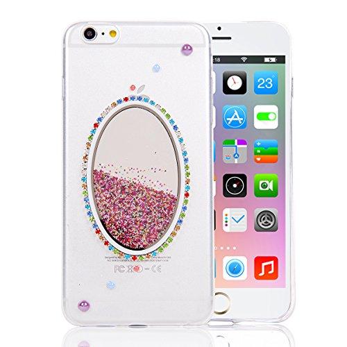 Coque iPhone 6 Plus/6s Plus , iNenk® couleur transparente créatif Sables mouvants liquide téléphone Case TPU doux Housse Etui créative gaine de protection-miroir Miroir