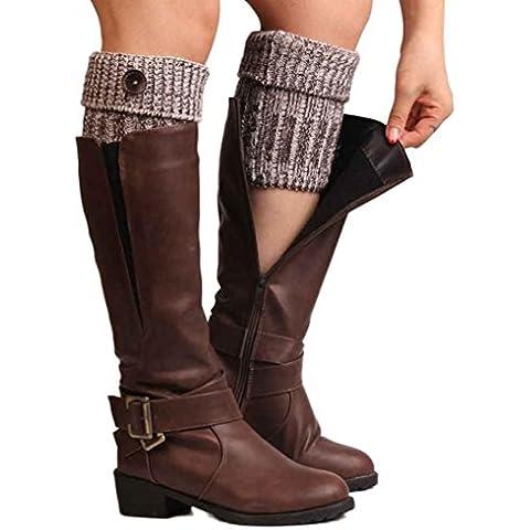 Calcetines,RETUROM Las mujeres más nuevo estilo retro botón de punto de ganchillo de la felpa de la media de la pierna cubierta Calcetines botón Recortar
