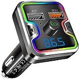 Clydek Trasmettitore FM per Auto, Bluetooth 5.0 Audio per Autoradio fili con Ricarica Rapida QC3.0 e Luce Colorata, Lettore MP3 Supporto per Chiamate in Vivavoce, Unità USB, Scheda TF