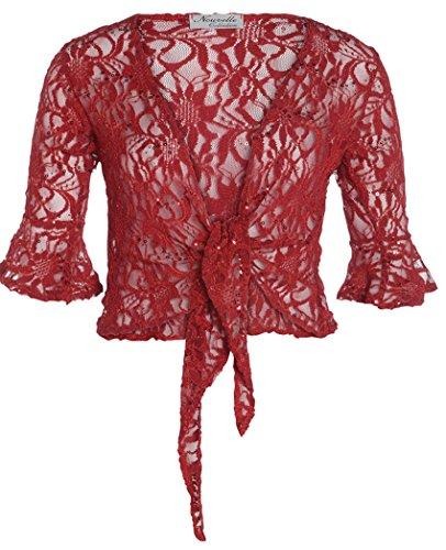 Funky Boutique Boléro de Paillettes pour femme Rouge - Bordeaux