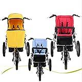 Pieghevole a Tre Ruote Bicicletta Multifunzione Passeggino per Auto Casual Genitore-Bambino Bici Carrozzine con Bicicletta Corsa Materna e Bambino Car,Blue