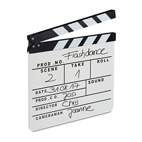 Relxdays 10021347 Lavagnetta Ciak in Legno, Hollywood Clapperboard, Ciak Cinematografico, Accessori Regista, HxL 26x30 cm, Bianca di Relaxdays