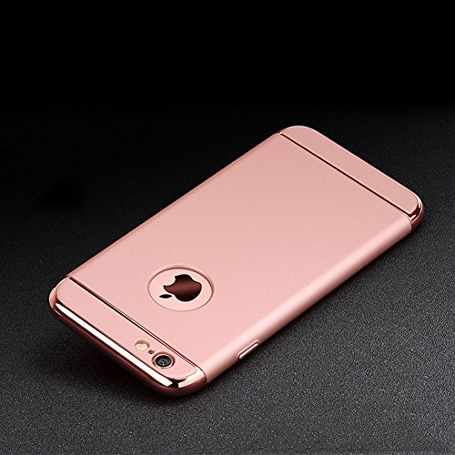 Custodia per Apple iPhone 6 Plus/ 6S Plus Cover,Herzzer Mode Creativo Elegante Hard PC 3-in-1 Placcatura Opaco plating Rosso Bumper caso,protettiva in plastica duro della copertura ha placcato il Cass Oro rosa