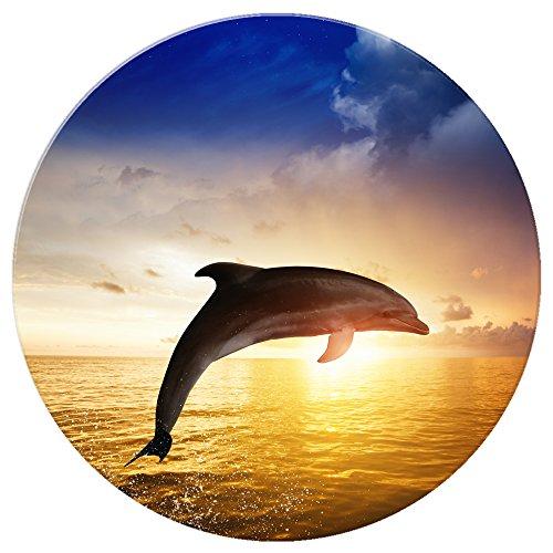 Magnete per frigorifero, delfini, Dolphin Jumping In The Sunset, Rotondo