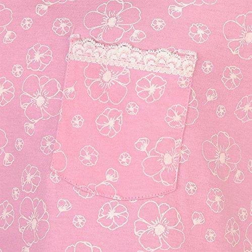 Cote De Moi Damen Picot Nachthemd Leicht V Ausschnitt Kurzarm Baumwolle Muster Pink