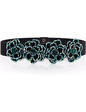 La mujer hecha a mano abalorios diamante decorativo cinturón elástico de cintura elástica cinturón de vestido...