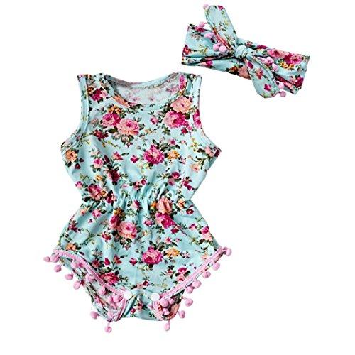 Bekleidung Longra Neugeborenes Kleinkind Baby Mädchen Floral Sommer Body Strampler Overall Trägerkleid Babykleidung gesetzt (0 -24 Monate) (80CM 12Monate, Green) (Stricken Spieler Hut)