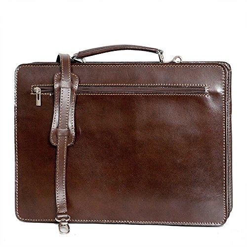 Leather Briefcase, Valigetta in pelle / business / laptop bag con tracolla, mod. 2027-p (39 / 29 / 11 cm) Italia Marrone (blu scuro)