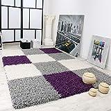 Tappeto Shaggy A Pelo Alto A Pelo Lungo nei Colori Viola Nero Bianco, Dimensione:120x170 cm