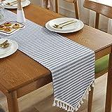 Qinqin666 Tischläufer Sinn für Mode der luxuriösen minimalistischen Stil Tisch Läufer Tischfahne Fahne Blaue Leiste 30x220cm