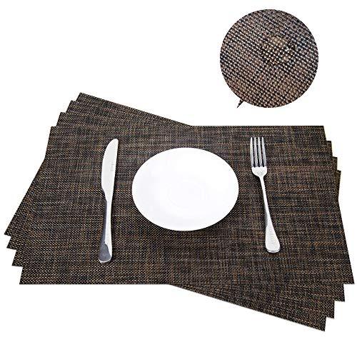 Aspire 4 pcs facile à nettoyer Exquise tissé Sets de table, 2dark Brown, Taille unique