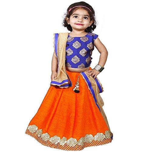 Najara Fashion Orange Silk & Blue Printed Silk Lehnga Choli Set