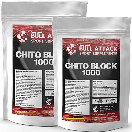 CHITO-BLOCK-1000 | 2x 500 (1000) Tabletten Großpackung XXL reines Chitosan | 252 Portionen Vorratspackung | Fett-Blocker / Fettblocker für Männer & Frauen | Premium Qualität hergestellt in Deutschland
