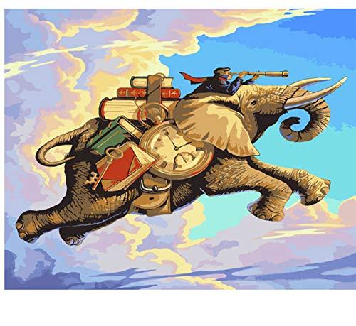 Elefantes Animales Diy Pintura Por Números Pintura Acrílica Por Números Moderno Imagen...