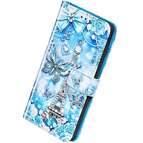 Herbests Kompatibel mit Samsung Galaxy A20S Leder Hülle Schutzhülle Handyhüllen Bunt Motiv Muster Flip Brieftasche Wallet Tasche Klapphülle Etui Case Magnetverschluss,Schmetterling Rose