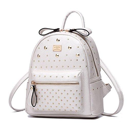RFVBNM Frauen Rucksack Mode kausalen Taschen hochwertige Niete Mini Schultertasche weibliche Schultertasche PU Leder Rucksäcke für Mädchen Bestes Geschenk für Mädchen, schwarz Weiß