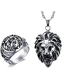 Vnox Collar pendiente del anillo de la venda de boda de la cabeza del león del acero inoxidable de los hombres