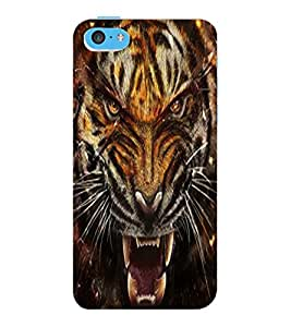ColourCraft Roaring Tiger Design Back Case Cover for APPLE IPHONE 5C