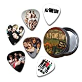 All Time Low Set of 6 Loose Guitar Médiators in Tin ( Collection C )