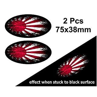 2PCS verblasst zu schwarz getragen Grunge Oval Design mit Japanischen Rising Sun Flagge für Motorrad Helm Auto Aufkleber 75x 38mm
