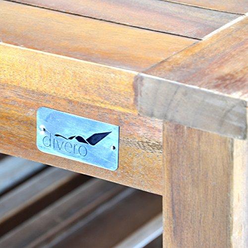 Divero Set 2 Bänke + 1 Tisch in Akazienholz - 6