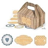 17 kleine braune Geschenkboxen in Holz-Optik als Verpackung zu Weihnachten 9 x 12 x 6 cm ohne Griff + hübsche Aufkleber in blau-grau-weiß-beige als Geschenkaufkleber für Kunden, Freunde, zum Wichteln